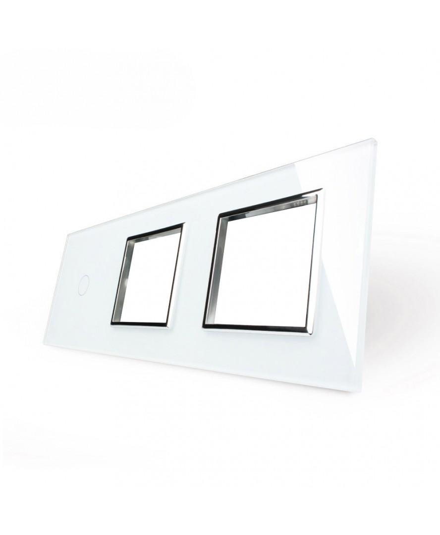3. Рамка Однолинейный выключатель + две розетки (Трехпостовый)