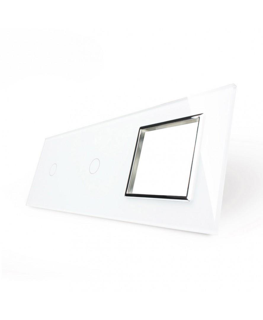 5. Рамка Два однолинейных выключателя + розетка (Трехпостовый)