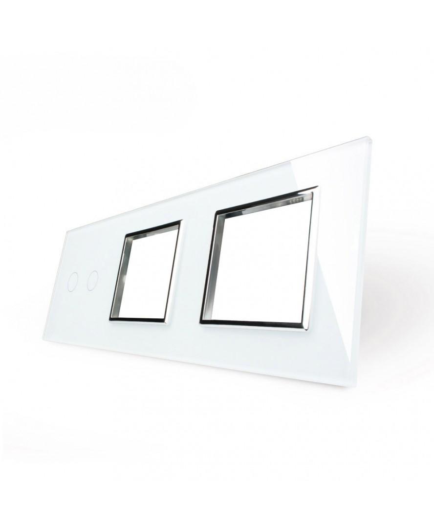 4. Рамка Двухлиненый выключатель + две розетки (Трехпостовый)