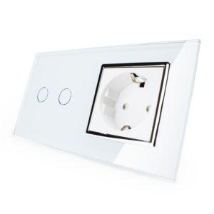2. Двухлиненый выключатель + розетка (Двухпостовый)
