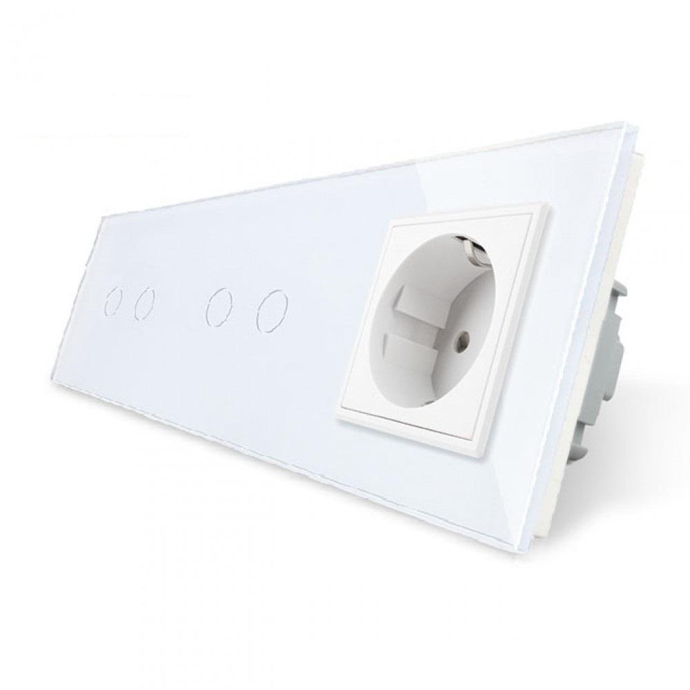 6. Два двухлинейных выключателя + розетка (Трехпостовый)